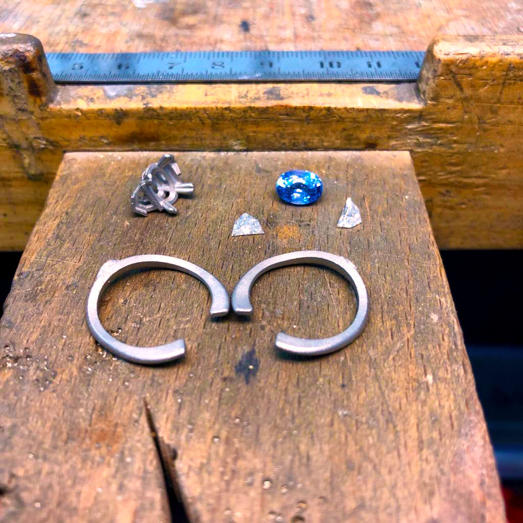 engagement rings custom made by ronan campbell bespoke sapphire diamond designyard dublin ireland