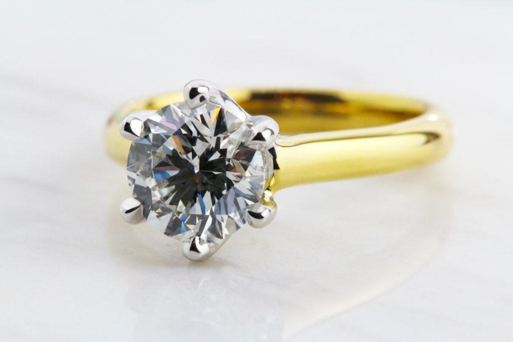 Ronan Campbell Yellow & White gold Six Claw Diamond Solitaire Engagement Ring Designyard dublin Ireland