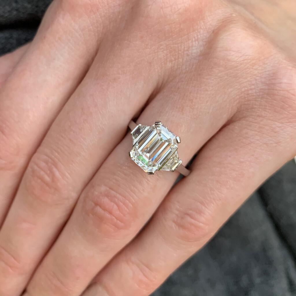 ronan campbell bespoke emerald cut diamond engagement ring luxury high jewelry private jeweller celebrity jeweler dublin ireland designyard contemporary atelier