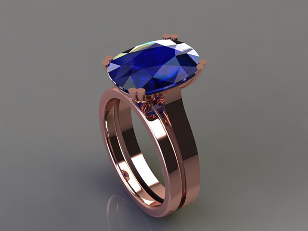 ronan campbell rose gold sapphire engagement ring designyard contemporary jewellery gallery dublin ireland